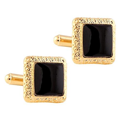 Tripin Black Golden Square Shaped Brass Cufflinks