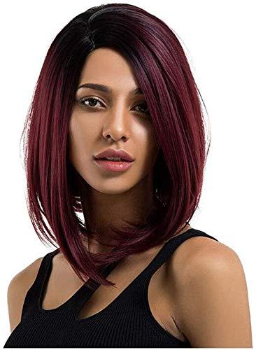 Pelucas cortas y rectas para mujer, estilo degradado, color rojo vino, con raíces, pelucas de color...