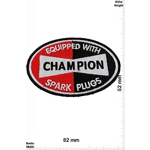 Patch - Champion Spark Plugs - Motorsport - Ralley - Car - Motorbike - toppa - applicazione - Ricamato termo-adesivo - Give Away
