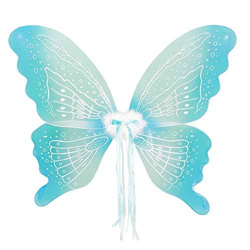 Kostüm Flügeln Schmetterlings Mädchen Plüsch - GLXQIJ Fee Flügel Schmetterling Verkleiden Sich Funkelt Halloween-Kostüm, Kostüm Geburtstag Party Flügel Zubehör Für Erwachsene Damen Kinder Mädchen,Blue,72 * 58CM