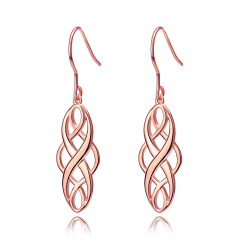 Damen-Ohrringe Sterling Silber keltischer Knoten Hängende Tropfen Ohrringe (ohrringe rosegold)