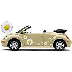 Auto Adhesivo Decorativo, Pegatina de automóvil, Flower Power, Hippie Flores Flower Set 06 (8)