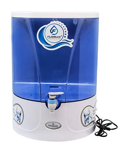 F FLORIAN Plastic Neptune RO+Mineral Water Purifiers, 10 L (White and Blue)