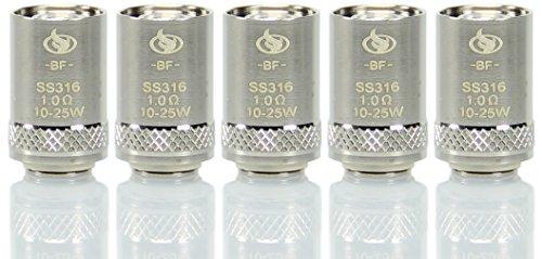 InnoCigs BF SS316 Heads (5 Stück pro Packung) für den Cubis Clearomizer/Verdampfer - produced by Joyetech (1.0 Ohm) (Ohne Nikotin und Tabak frei)