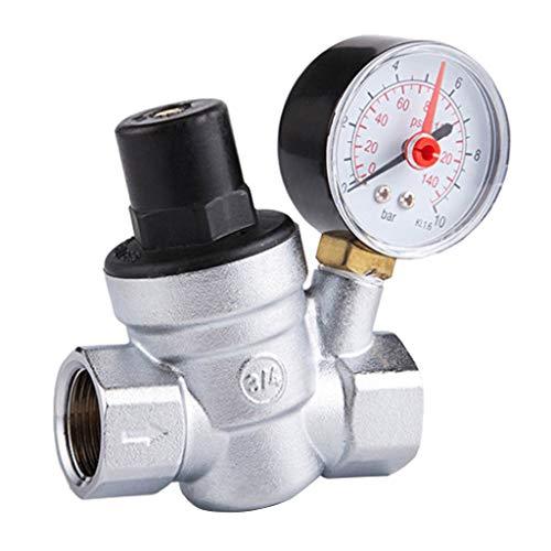 Fenteer Messing Luftdruck Druckminderer Druckregler Regler mit Manometer für Wasser - DN20 -