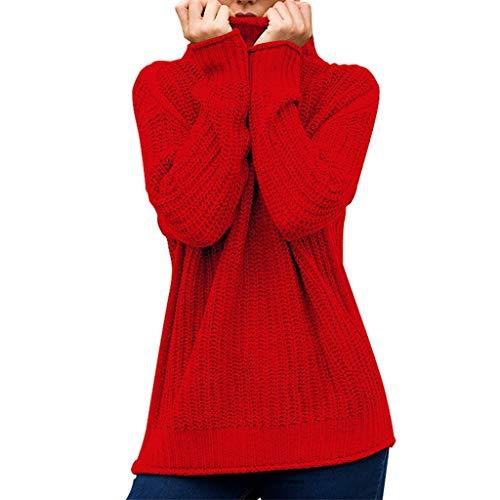 DOFENG Damen T Shirt Bluse Damen Lange Ärmel Sommer Mode Locker Gestrickt Volltonfarbe Pullover Lässig O Hals Shirt Tanks Weste Oberteil Tops (Rot, Medium) (Vintage Motorrad-reifen 18)