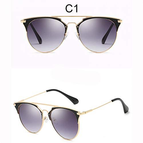 DEFG&FAD Katzenauge Sonnenbrille Frauen Runde Linse Flat Top Sonnenbrille Vintage Spiegel Eyewear Female Shades, 1