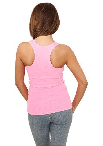 Débardeur Fluo pour Femme Haut sans manches 100% Cotton Urban Classics Neon Tanktop pink fluo