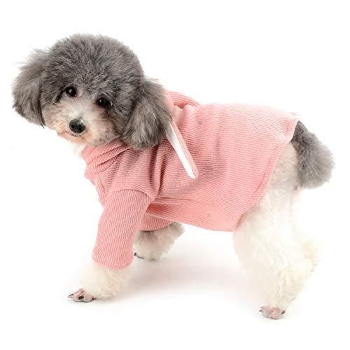 Kostüm Katze Wonderland - Zunea Kapuzenpullover für kleine Hunde, Hasenohren, gestrickt, mit Kapuze, für Halloween, Cosplay, Party