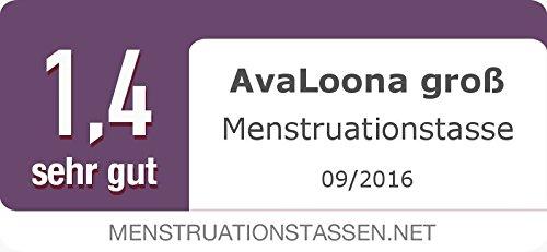 AvaLoona Menstruationstasse Doppelpack aus medizinischem Silikon mit Beutel (groß, rosa, 2 Menstruationskappen) - 4