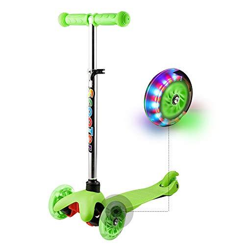 WeSkate Kinder Kleinkinder Roller Scooter 3 Räder Verstellbare Mini Kinderscooter Kinderroller Dreiräder mit Blinkenden LED-Rollen für Jüngere Mädchen (Grün)