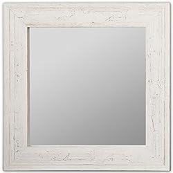 Espejo Patinado a Mano, Madera, Gris Patinado, 80x3x80 cm