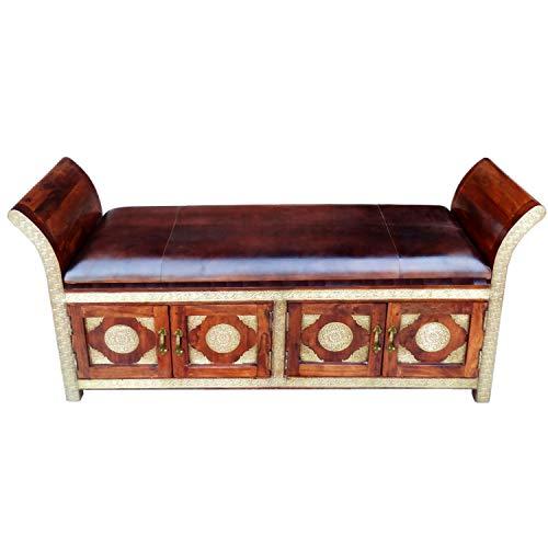 Orientalische Sitzbank Kiste aus Holz Moha 155cm groß mit Messing | Vintage Truhe mit Aufbewahrung...