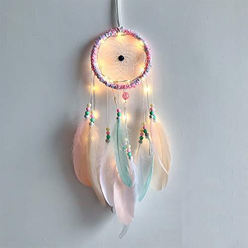 Poitemsis Atrapasuenos con luz Rosa con Luces LED, atrapasuenos para ninas, Dormitorio, decoracion para Colgar en la Pared