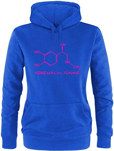 EZYshirt® Adrenalin Junkie Damen Hoodie Royal/Pink