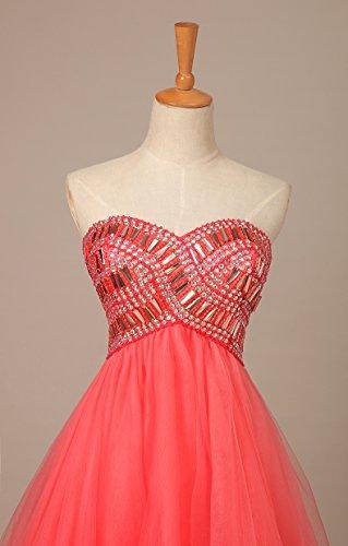 Bridal _ Mall Cocktail robe courte pour femme avec strass paillettes tuell Ballon Party robe Rouge - Rouge