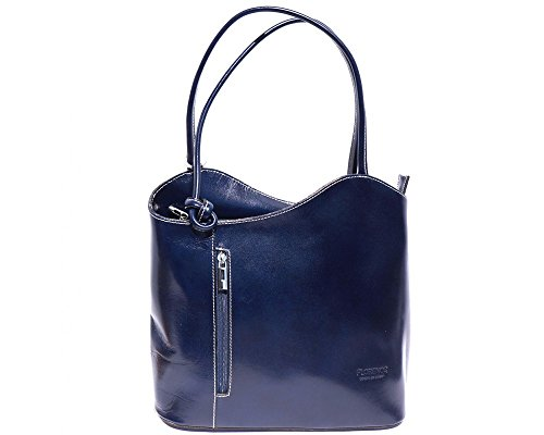 Florence Leather  207, Damen Schultertasche Brown & Dark Brown dunkelblau