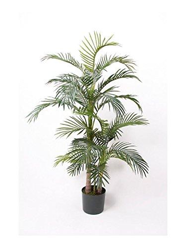 artplants – Künstliche Areca Palme CAMYRA, 24 Palmwedel, grün, 130 cm – Kunst Palmen Pflanze/Deko Goldfruchtpalme