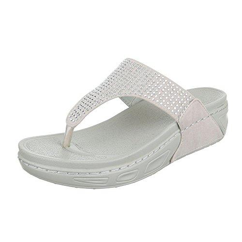Zehentrenner Damen-Schuhe Peep-Toe Keilabsatz/ Wedge Zehentrenner Ital-Design Sandalen / Sandaletten Beige, Gr 36, 28-M41301D-