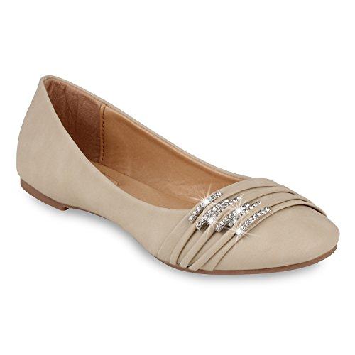 Klassische Damen Schuhe | Strass Ballerinas | Elegante Slipper| Übergrößen | Metallic Glitzer Flats Nude