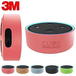 Amazon Echo Dot Hülle von Cuvr | Zubehör Case aus Silikon mit 3M-Wandhalterungs-Klebepad [Ohne Bohren] (Pink)
