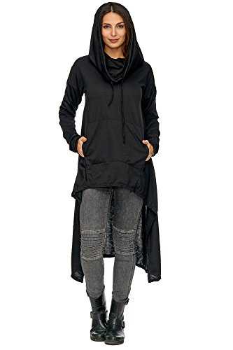Zarlena Damen asymmetrischer Oversized Look Longshirt Hoodie Minikleid Schwarz