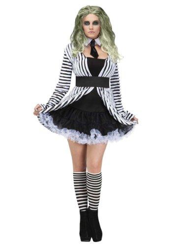 Kostüm Kinder Beetlejuice - Unbekannt Gothic Geist Halloween Damenkostüm schwarz-Weiss S / M