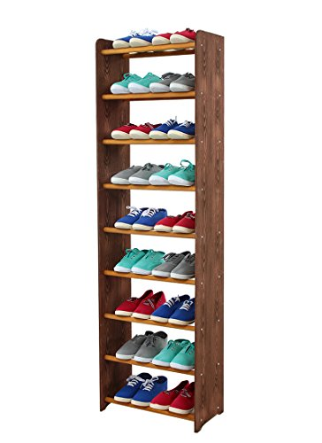 Schuhregal Schuhschrank Schuhe Schuhständer RBS-9-45 (Seiten dunkelbraun, Stangen in der Farbe erle)