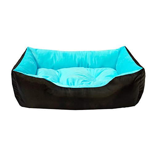 Cama para perro, Cama para Gato, Cama de Mascota, Fácil limpieza, Perro Cojines (L: 62x50cm, Azul)