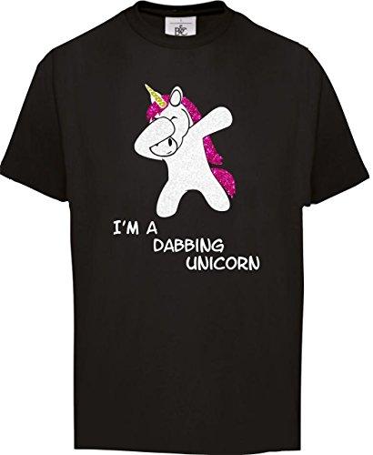 BlingelingShirts Kinder Shirt GLITZERDRUCK Mädchen Karneval Kostüm Einhorn Sprüche I'm a Dabbing Unicorn Fasching Einhorn, T-Shirt Schwarz, Grösse 152/164 (Mädchen-kostüm-shirt)