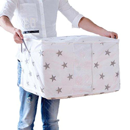 KCNCKSL Faltbare Aufbewahrungsbeutel Folding Organizer Bag für Kleidung Quilt Decke Kissen Gepäck Atmungsaktiv mit 2 Griffe Kleiderschrank D 60x43x36cm (Quadrat Bett In Einem Beutel)