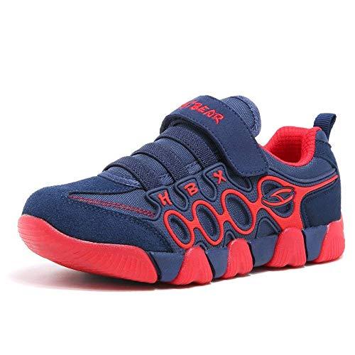 XIAO LONG Sportschuhe Jungen Mädchen Laufschuhe Atmungsaktiv Kinderschuhe Sneaker mit Klettverschluss Bequeme Turnschuhe Hallenschuhe Schuhe für Sommer Outdoor,Blau Rot,38