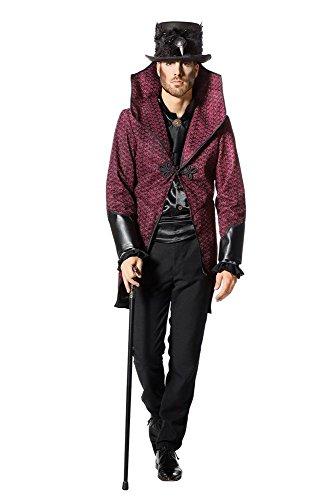 Der Vampir Kostüm Fürst Finsternis - shoperama Herren-Kostüm Frack Jacke Devil King Steampunk Gothic Vodoo Vampir Zirkusdirektor Halloween venezianisch Karneval Fasching, Größe:50
