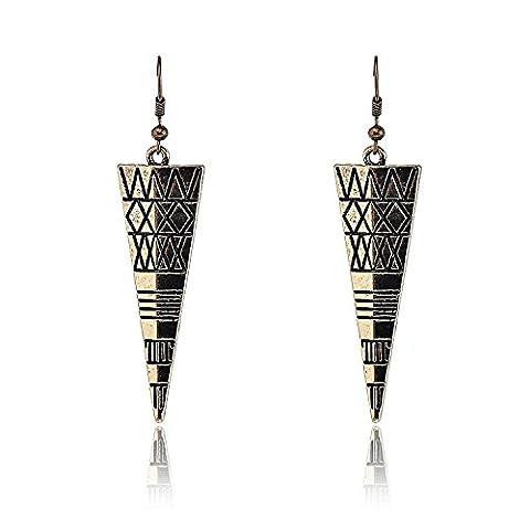 Lureme Antique Bronze Triangle Découpé X Conçus Boucles d'oreilles Battantes pour les Femmes et les Filles (02002143-1)