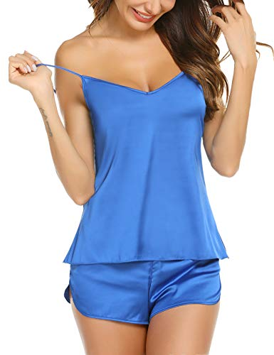 Nachtwäsche Cami Set (Skine Damen Schlafanzüge Satin Kurz Sexy Wäsche Nachtwäsche Solid Pyjamas Sets Chemises Cami Top & Shorts Verstellbarer Träger 2 Stück)
