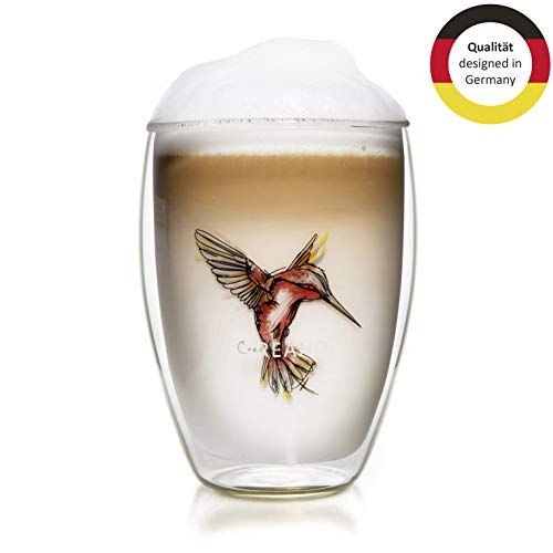 Creano Thermo-Glas Hummi, doppelwandiges Tee-Glas, Latte Macchiato, Thermobecher Kolibri | 250ml in exklusiver Geschenkbox, rot (Kolibri Rot)