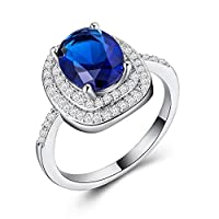 CHARHODEN Silver plated Lady Sapphire Ring Holiday Gift -7