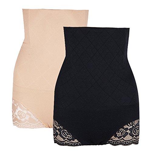 2 paia mutandine post parto slip mutande contenitive dimagrante shaper corpo corsetto bustino addome intimo modellante donna (1*beige+1*nero) (m/l)