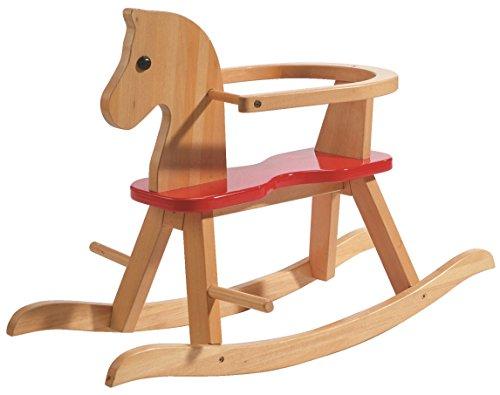 *roba Schaukelpferd, Schaukeltier Massivholz natur rot, Schaukelstuhl mitwachsend für Babys und Kleinkinder durch abnehmbaren Schutzring*