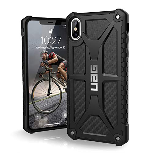 URBAN ARMOR GEAR UAG Monarch Funda protectora de fibra de carbono para iPhone XS MAX, Color Negro
