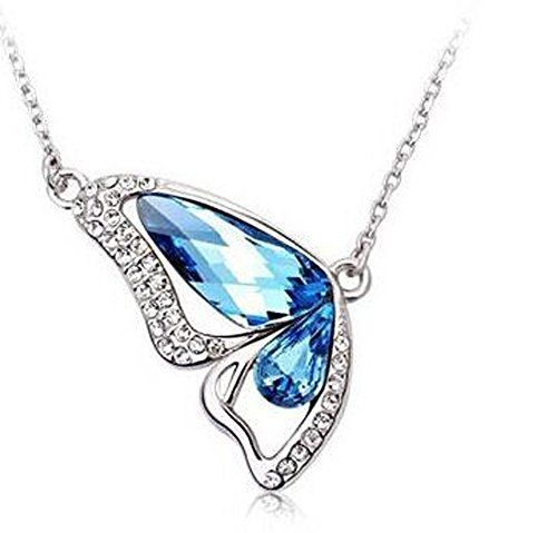 bigboba Silber Halskette Dancing Schmetterling Kristall Schlüsselbein Halskette Anhänger Fashion Creative Schmuck Accessoires für Damen Mädchen Geburtstag Festival Geschenke blau