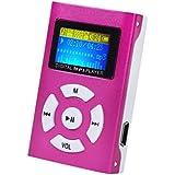 LANDFOX Pantalla LCD Mini jugador de MP3 Soporte de tarjeta de 32 GB Micro SD TF(rojo)
