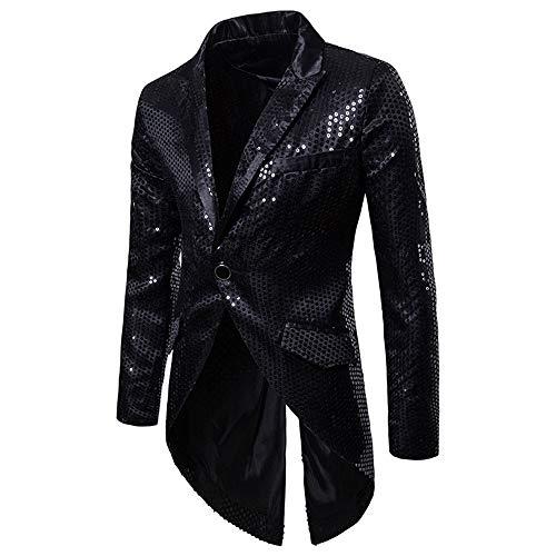 Decha Herren Pailletten Anzug Jacke Blazer Regular Fit EIN Knopf Sakko Mantel Smoking für Party Hochzeit Nachtklub Disko Cosplay