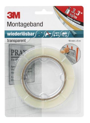 3M 8899195 Wiederlösbares Montageband, 19 mm x 5 m, transparent, 1er Pack