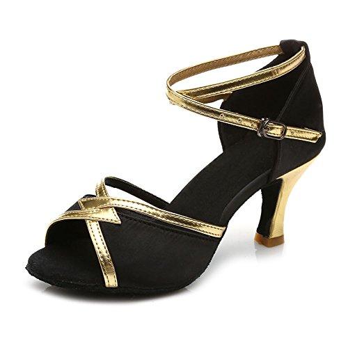 SWDZM Mujer Zapatos de baile/estándar de Zapatos de baile latino Satén Ballroom modelo-ES-225 Negro 38.5 EU