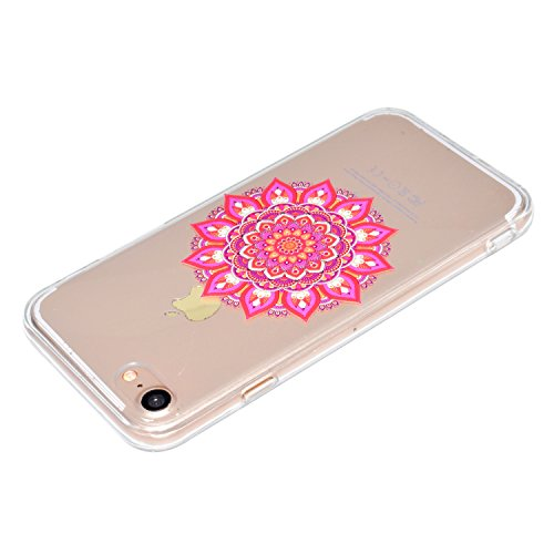 Felfy Coque Protection iPhone 5S,iPhone 5S Coque Silicone,iPhone SE Case Bumper Etui Ultra Mince TPU Silicone Transparent Housse Fleur Papillon Dentelle Flamingos Couleur Motif Silicone Portable Lanya Datura *