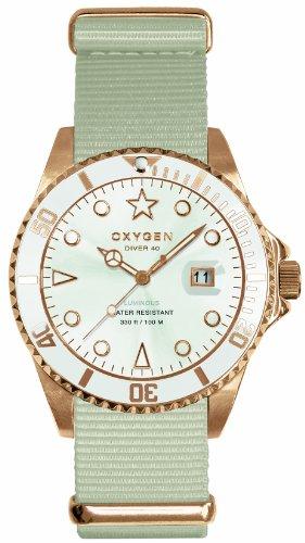 Oxygen - EX-D-SNO-40-IV - Diver - Montre Homme - Quartz Analogique - Cadran Blanc - Bracelet Nylon Blanc
