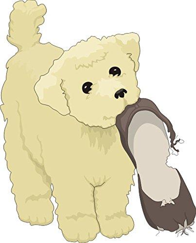 T-Shirt E705 Schönes T-Shirt mit farbigem Brustaufdruck - Logo / Grafik - Comic Design - kleiner Hundewelpe mit zerkautem Schuh Weiß