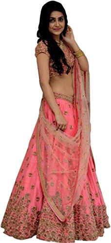 StyleVilla Women's Pink Silk Semi-stitched Lehenga cholis(Style1_Pink_Freesize)