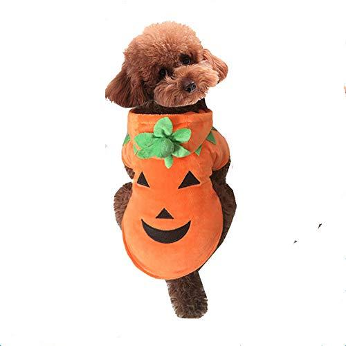 Haustier Hund Schlafanzüge, Haustier Halloween Teufel Kürbis Kleidung mit Kapuze Warm und Gemütlich für Kleine Mittlere Hunde für die Halloween - Gemütliche Teufel Kostüm